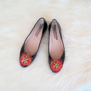 Paul Mayer Black Patent Leather Floral Floral Flat